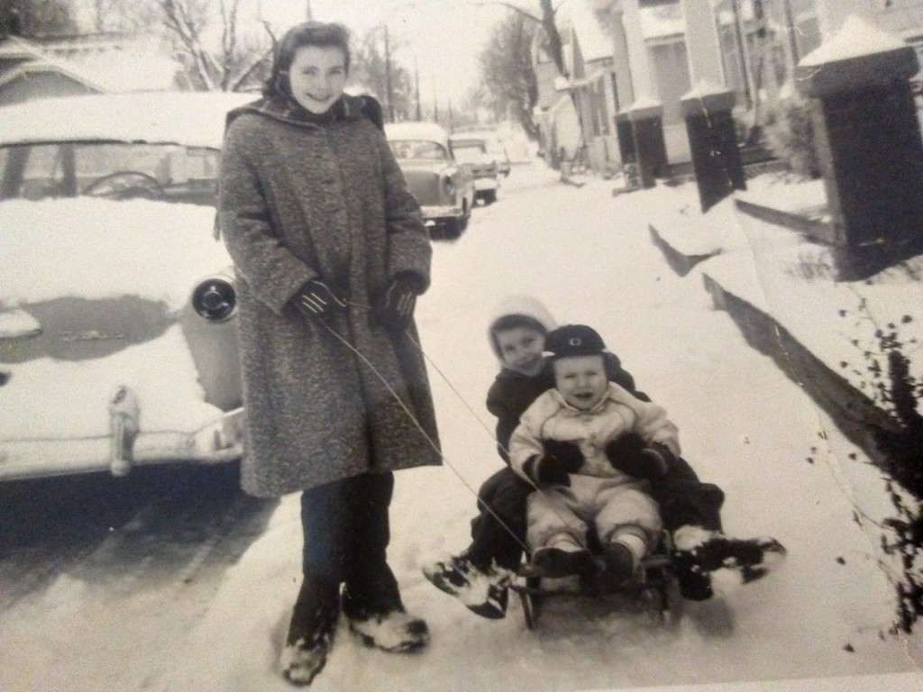 Kent Dickey posted a photo of he and his sisters sledding on Marietta in 1959. This photo is extra special because it features his sister Jackie, who is on the sled with Kent, and passed away recently on December 13th.