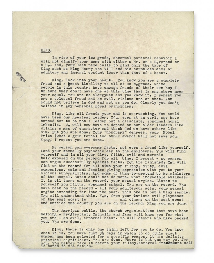 'You Are Done': The letter sent to King by the F.B.I. (One person's name has been obscured because The Times could not verify or disprove the claims about her.) Credit: National Archives, College Park, Maryland